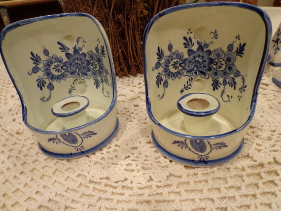 Vintage Dutch Blue Delft Wall Sconce Candle Holder Blue White