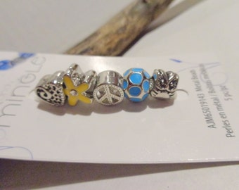 Mix and Mingle Metal Beads / Large Hole Beads-Yellow/Blue/Heart/Owl/Peace/Flower