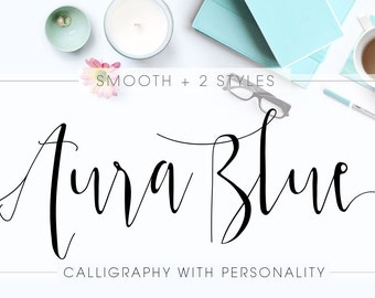 Aura Blue Calligraphy Font Download Modern Digital Typeface