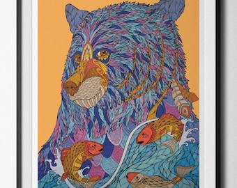 Bear Spirit digital print from an original hand drawn illustration