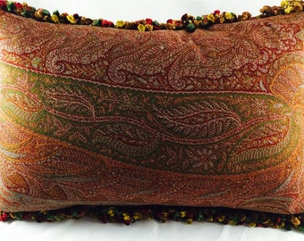 Pillow Made From Jacquard Paisley Antique Shawl
