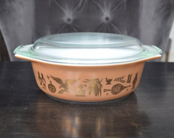 Vintage Pyrex 043 Early American Casserole dish , 1.5 quart Gold on Brown