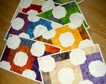 quilted placemats various colors set of 8