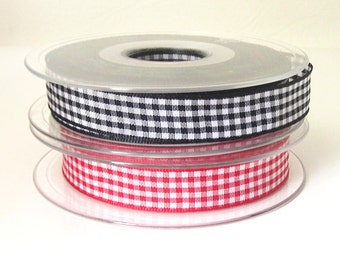 Red gingham ribbon, black gingham ribbon, checked ribbon, sewing supplies, decorative ribbon, crafting supplies, uk ribbon supplies