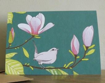 Magnolia & wren greetings card