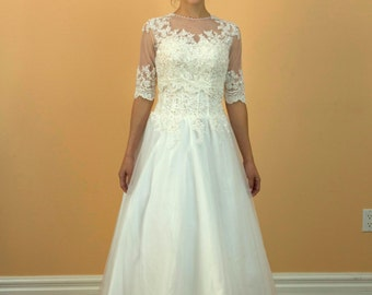 A Line Appliques Lace and Tulle 2 in 1 White Wedding Dress With a Detachable Lace Jacket