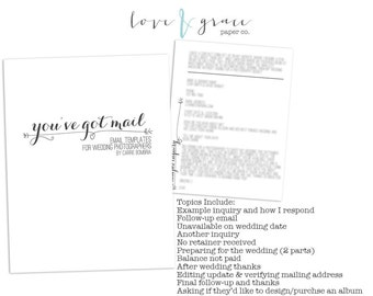 Email Templates for Wedding Photographers- Photographer Resource- INSTANT DOWNLOAD