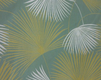 Palm Upholstery Fabric - Aqua - Green - White - Tropical Fabric By The Yard