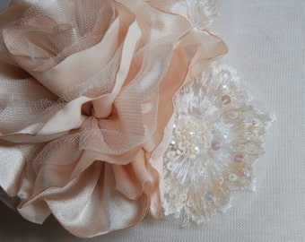 Champagne bridal hair clip; champagne satin flower and lace; bridal hair clip