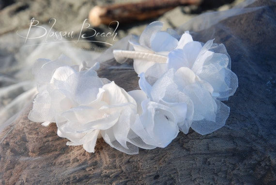 one-of-a-kind Ivory satin ribbon wrapped headband/crown with organza hydrangeas. Flower-girl. Wedding.