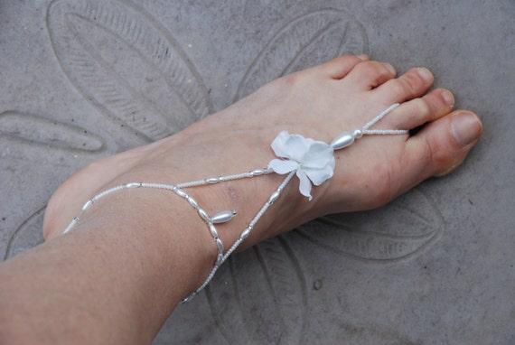 SALE: White stretch beaded barefoot sandals; barefoot jewelry; beach wedding sandals