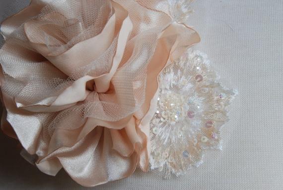 Champagne bridal hair clip; champagne satin flower and lace; bridal hair clip