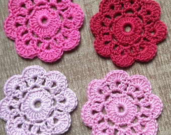 Crochet Flower Coasters Set of 4 in Pink