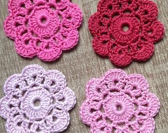 Crochet Flower Coasters Set of 4 in Pink