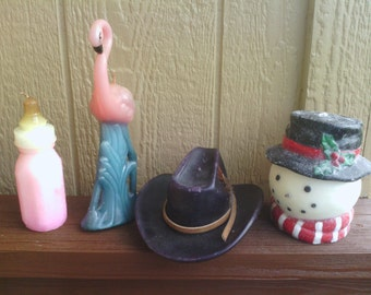 Nice Candle Figurines, Snowman Head, Cowboy Hat, Swan and a Baby Bottle.
