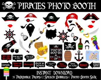 PRINTABLE Pirates Photo Booth Props–Photo Booth Sign-Printable Pirate Photo Prop–Pirate Party–Pirate Photo Props-Sea Props-Instant Download