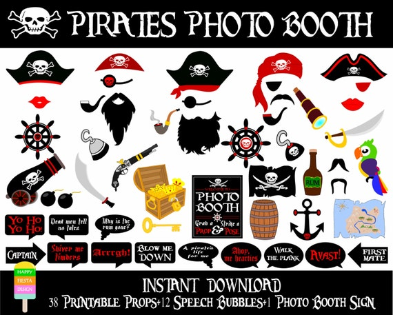 pirate photo booth props printable pdf