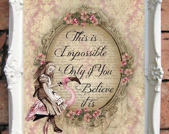 ALICE in Wonderland Quote Art Print. Alice in wonderland decoration. Shabby Chic Decor. Decor Wall Art. Alice in wonderland print C:A030