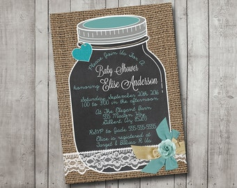 Girl Boy Baby Shower Invitation Mason Jar Chalkboard Burlap Lace Vintage Teal Shabby Rustic Printable Customizeable Digital File
