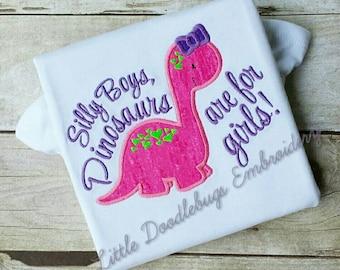 Girls Dinosaur Shirt-Toddler-Applique Shirt-Girls Shirt-Dinosaur Shirt