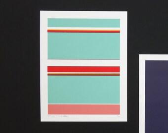 Handmade 5 Color Screenprint Purple Floater Stripes, limited edition