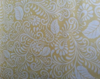 ON SALE Today Moonflower Yellow Filigree Fabric by Denise Urban For Quilting Treasures  Designer Fabric By the Half Yard