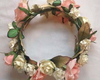 Peach and Ivory flower crown
