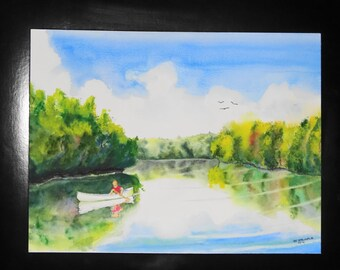 "Original watercolor ""On the lake""-calm waterscape-canoe-trees-reflections-clouds-blue sky-boat"