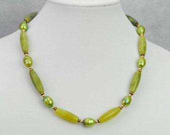 Handmade Pearl New Jade Gemstone Necklace