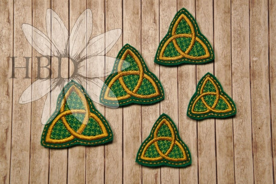 Celtic Trinity Knot Knitting Pattern : Celtic Knot Trinity Knot, Cross and Circle Felties in Five Sizes! from HBDais...