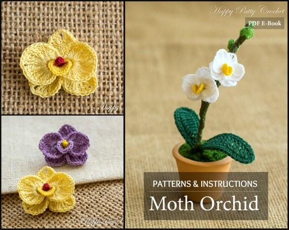 Free Crochet Pattern Orchidee : Mini papillon motif orchidee decoration par HappyPattyCrochet
