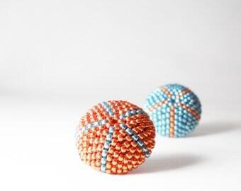 Beaded earrings -  Seed Beaded stud earrings - Turquoise and Orange