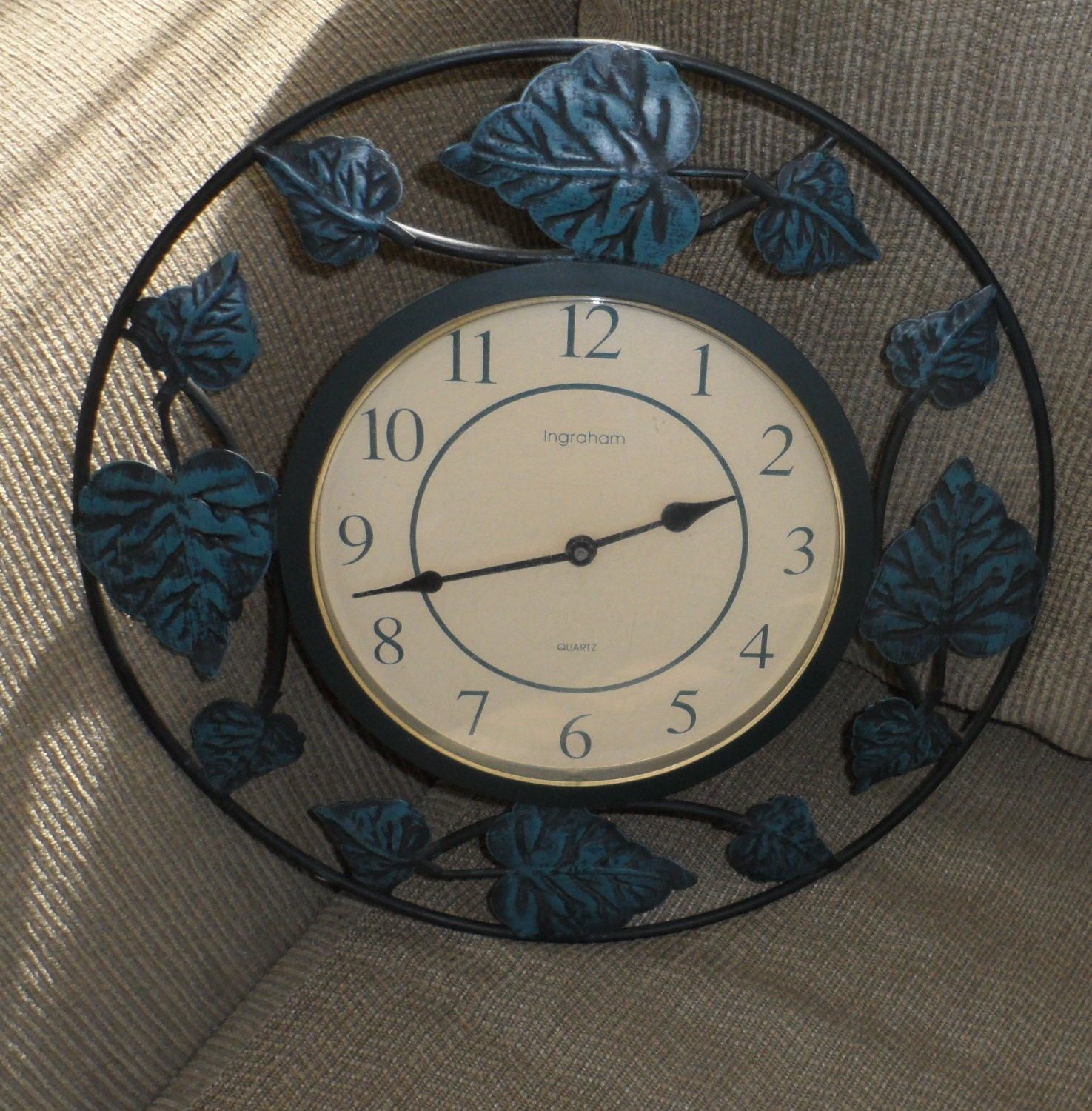 Vintage Ingraham Wall Clock Metal Ivy Leaves Trimmed