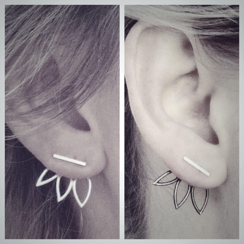 Oxidized Triple Leaf Ear Jackets And Silver Bar Stud Earrings