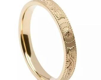 14k gold Irish handmade Celtic warrior band - Handmade in lreland - Celtic warrior shield ring - Free worldwide shipping