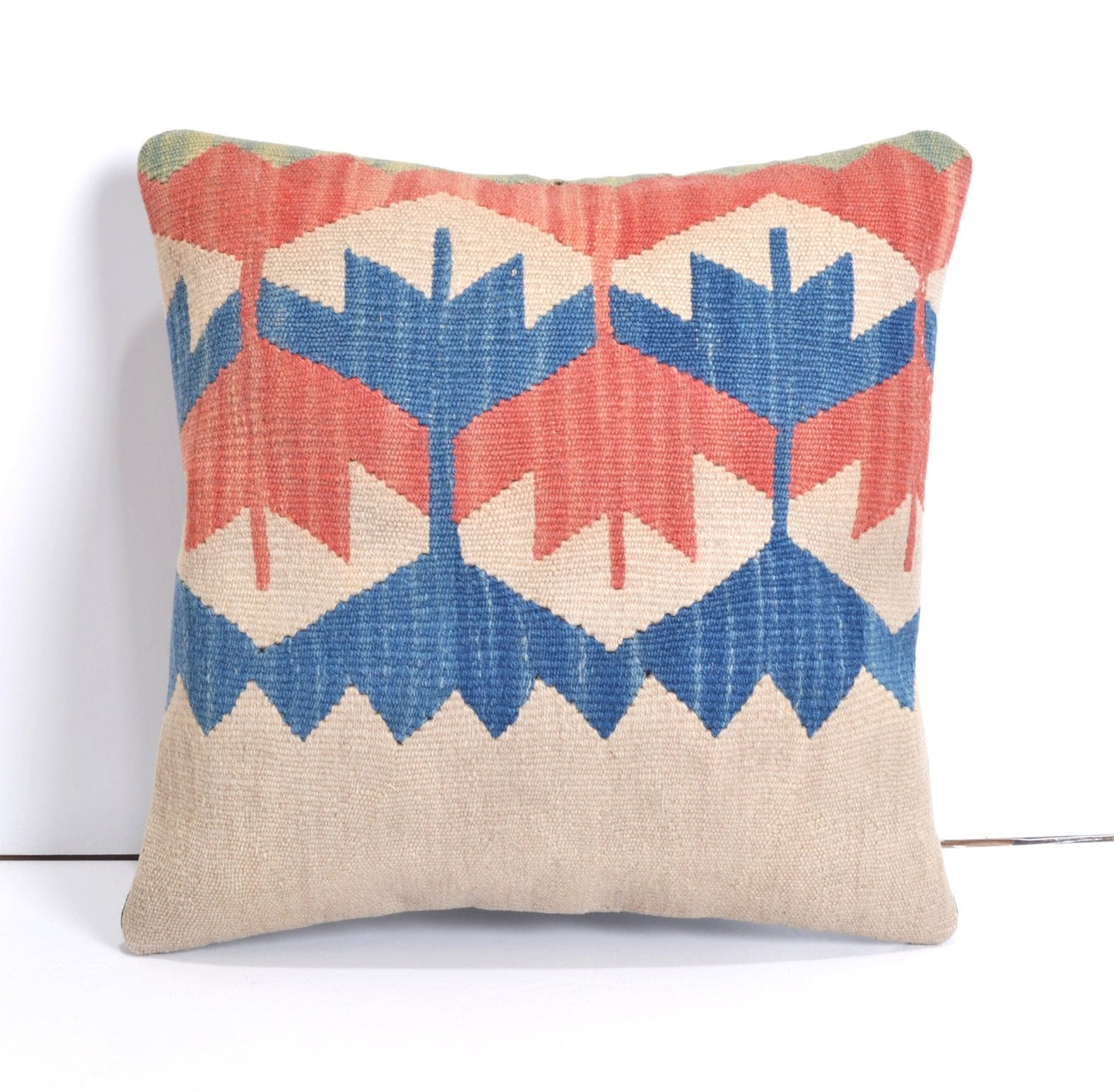 Throw Pillows King Size Bed : 16x16 blue throw pillows Kilim Pillow Throw by arastabazaar
