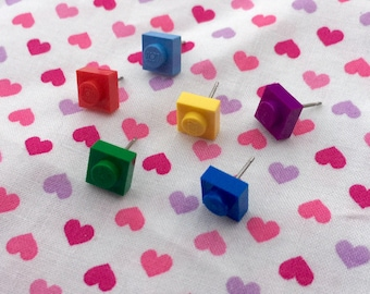 Colorful Square Stud Earrings...Handmade using LEGO® parts
