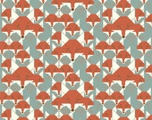 Mid-Century Modern Fox Fabric by Charley Harper, Nurture Organic Fabric from Birch; Foxsimilies