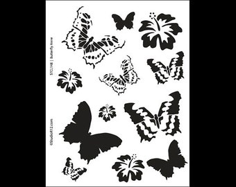 "Butterfly Anne Stencil - Art Stencil - 8 1/2"" x 11"" - STCL148 - by StudioR12"