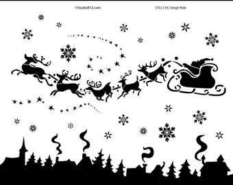 "Sleigh Ride Stencil - 11"" x 14"" - SKU:STCL134"