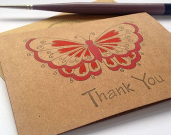 Thank you Cards Red Butterfly - Hand Painted Cards - Thank You Notes - Wedding Thank you Cards - Thank you Card Set - Butterfly Note Cards
