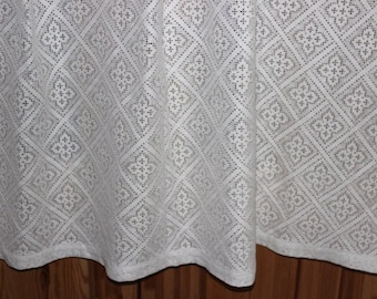 Vintage Cotton Lace Curtain Panel Country Chic, 194 cm x 150 cm / 76.3 x 59 inch,  Rustic Farmhouse Window @96
