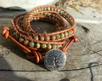 Autumn Jasper Leather Wrap Bracelet
