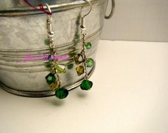 Green Earrings - green dangle - green crystals