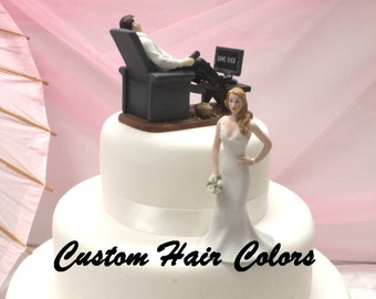 Funny Wedding Cake Topper - Couch Potato Groom and Waiting Bride - Personalized Cake Topper - Cake Topper - Modern - Fun Cake Topper