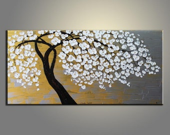 Golden Flower Tree Painting Flower Painting Original Painting Large Painting Impasto Texture Oil Painting Palette Knife Oil Painting