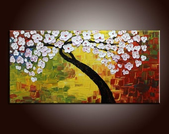 "Flower Tree Painting Flower Painting 40"" Original Painting Canvas Painting Impasto Texture Oil Painting Palette Knife Oil Painting"