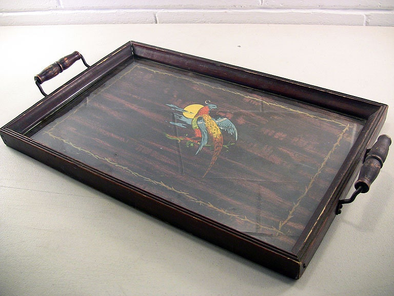 antique wood tray antique serving tray mahogany wood tropical by 1302