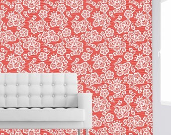 RED EMBROIDERY - Self adhesive removable fabric wallpaper by GraphicsMesh