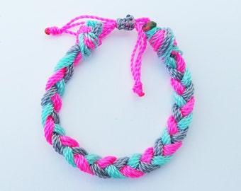 Pink,Grey, and Turquoise, (kids,baby,toddler,adult) bracelet/anklet, waterproof,string bracelet, ADVENTURE BRACELETS